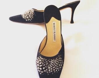 Manolo Blahnik Spike Heel Feathered Pointed Toe Mules Sz. 37 1/2
