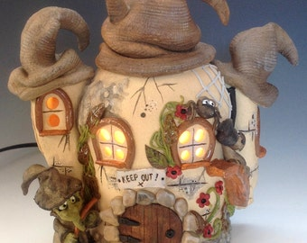 Witch's Cottage Pottery Lamp, Ceramic
