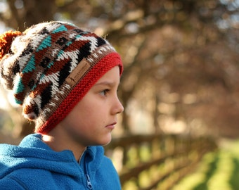 "Knitting Pattern snowboarding Hat ""Kobe Slouchy Beanie"" Snow Slouch, Boys patterns, knitting pattern, winter hat for children PATTERN ONLY"