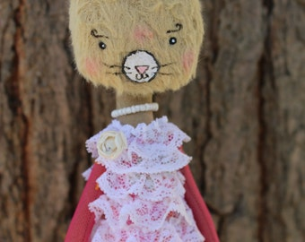 Cat Doll - Romantic Doll- beige viscose - pink tulle dress embroidered
