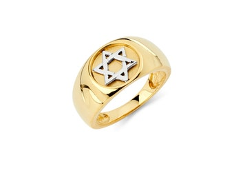 Solid 14k Yellow/White Gold Two-Tone Men's Ring With Star Of David