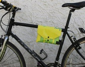 Top Tube Bike Frame Bag Cute Bicycle Accessory Upcycled Repurposed Recycled Water Resistant Vinyl Banner Rubber Inner Tube The Enviromnent