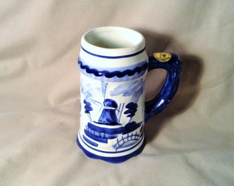 Blue & White Holland Windmill Beer Stein - Delft Blauw Hand Painted, Made in Holland - Fathers Day, Gift for Him - Decorative Folk Art Mug