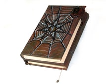 TriFold Book 500p Journal, Blank Book of Shadows, Spiderweb Grimoire