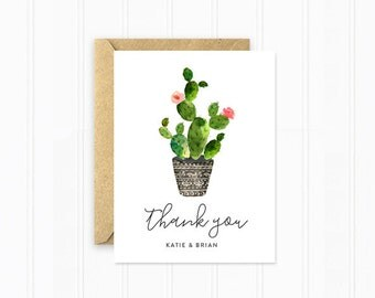 Thank You Cards, Cactus Wedding Thank You Cards, Watercolor Flowers