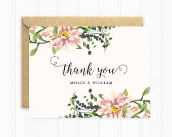 Wedding Thank You Cards, Personalized Wedding Stationery, Pink Flowers