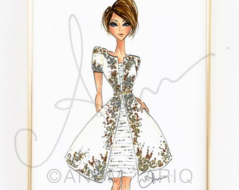 Fashion Illustration Print, Chanel Couture, 8x10""