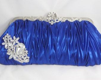 Royal Blue Wedding Clutch, Sapphire Blue Bridal Clutch, Blue Bridesmaid Handbag Purse, Royal Blue Wedding Clutch Bag, Bride's Something Blue