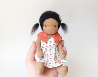 "Small Waldorf doll - waldorf cloth doll -  7.5"" handmade Steiner doll made with natural materials. One of a kind Ready to ship"