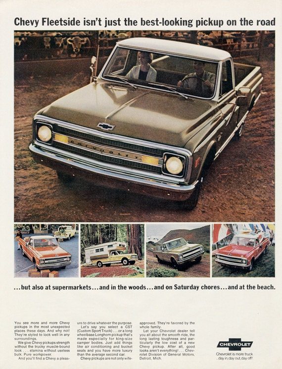 1969 chevy fleetside chevrolet pickup truck ad vintage auto for Garage ad agde