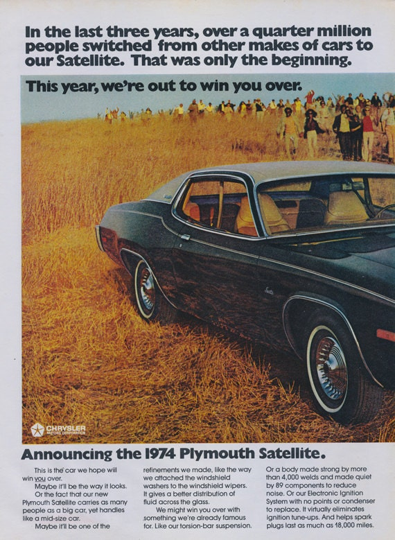 1974 plymouth satellite car ad vintage auto print for Garage ad agde