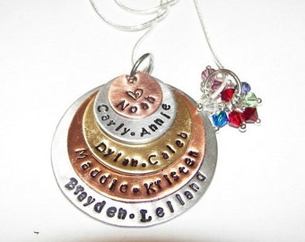 5 Layer, sterling silver, Personalized Mom Necklace, Hand Stamped Necklace, Personalized Jewelry,  Mom Necklace , New Mother Necklace