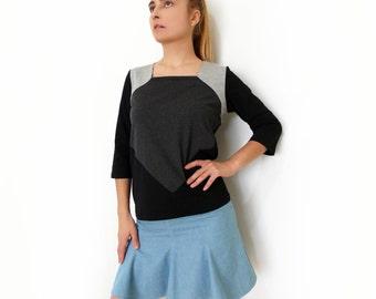 PDF Sewing Pattern Women's/Girl Jersey T-shirt Long/Short sleeve XS-XXL autumn-winter '16