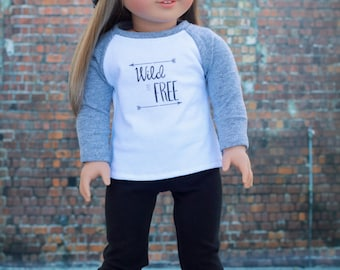 Doll Clothes | Trendy Gray Heather White Wild & Free Graphic Long Sleeve Fitted BASEBALL TEE for 18 Inch Dolls