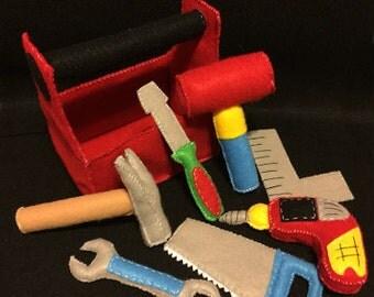 Wool Felt Toolbox Set - Handmade - Handsewn
