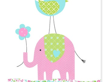 Nursery Art Elephant Bird Aqua Green Pink Baby Girl's Room Wall Art Children's Decor Toddler Baby Shower Nursery Ideas Baby Canvas Decor