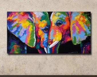 Colorful Elephant Painting,40×80 cm