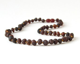 RAW Unpolished Baltic Amber Necklace, Bracelets & Anklets -Dark Cherry-colored
