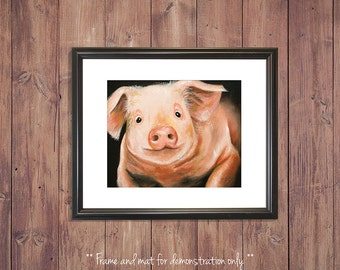 Pig Print from Original Oil Painting, 4x5, 8x10