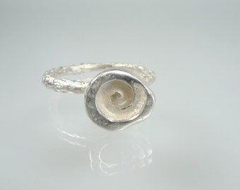 Sterling silver spiral ring, handmade silver jewellery, womens silver rings, organic jewelry,   lost wax casting, nature inspired ring