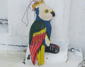 Parrot Dresden Cardboard Christmas tree decoration, Silver Cardboard Christmas Ornament - Made in USSR