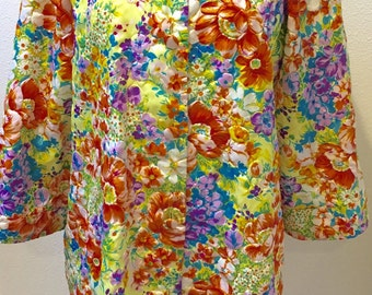 Vibrant Colors Mod 60's Mandarin Collar Saks Fifth Avenue Robe Ladies size Medium/Large