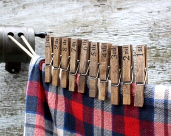 10 Rustic Numbered Chip Clips Wood Clothespins Rustic Decor Kitchen Decor Country Decor