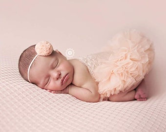 Peach Lace Newborn Dresses, Photography Props, Newborn Photography, Tutu Dress, Newborn Photography Props, Newborn Girl Dresses, Romper