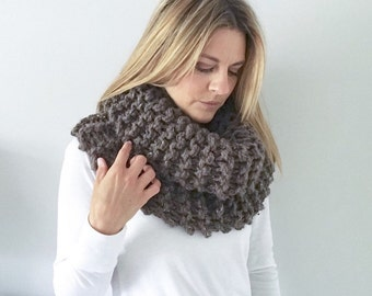 Chunky knit Cowl Scarf   Brown/Taupe/Barley   THE OUTLANDER   Ready To Ship!