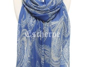 Paisley Print Cobalt Blue Woman Scarf Woman Fashion Infinity Scarf Accessory Man Scarf Fashion Accessories Gift Ideas For Her For Mom