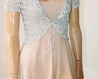 Wedding  Crochet Bolero Shrug Grey Silver Silk Vascose