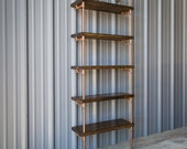 Industrial Pipe Shelving Unit - Pipe bookshelf - Pipe bookcase - Pipe shelving - Industrial Copper Color and Dark Walnut Pine Bookshelves