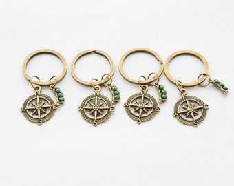 Four Friends Keychains 4 Peas in a Pod Keychains Set of 4 Compass Keychains Compass Accessories Friendship Gifts Set of 4 Peapod Key rings