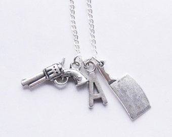 Weapons Necklace, Gun Necklace, Knife Charm Necklace, Initial Pendant, Personalized Gun pendant necklace, Monogram Handgun necklace, Gift