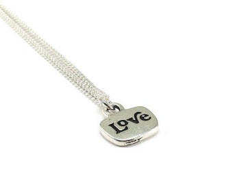 Love Necklace Sterling Silver Plated Chain