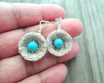 Birdnest  earrings , Earrings , birds nest earrings , wire wrapped earrings, bird nest jewelry, silver and turquoise ,  turquoise earrings