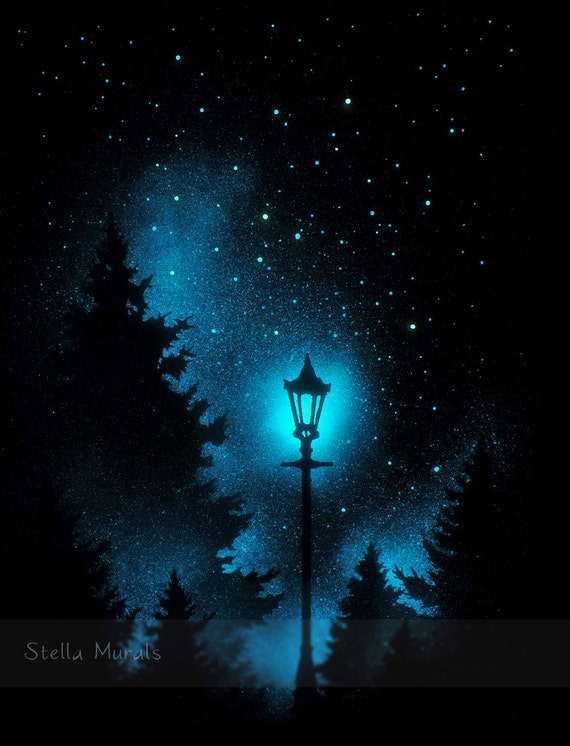 Glow In The Dark Night Light Lamp Post In Woods Starry