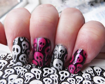 SCARY Skull Nail Art Movie Decals (SKM) Full Nail Wrap Decoration Movie Scary Skull Faces Black Waterslide Decal Stickers Clear Background