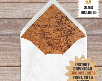 Vintage Old World Map Envelope Liners | Download And Print These Old World Map Printable Envelope Liners .