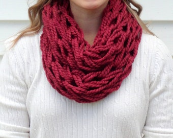 Maroon Scarf - Knit Infinity Scarf - Knit Scarf - Chunky Knit Scarf - Infinity Scarf - Chunky Infinity Scarf - Knitted Scarf - Winter Scarf