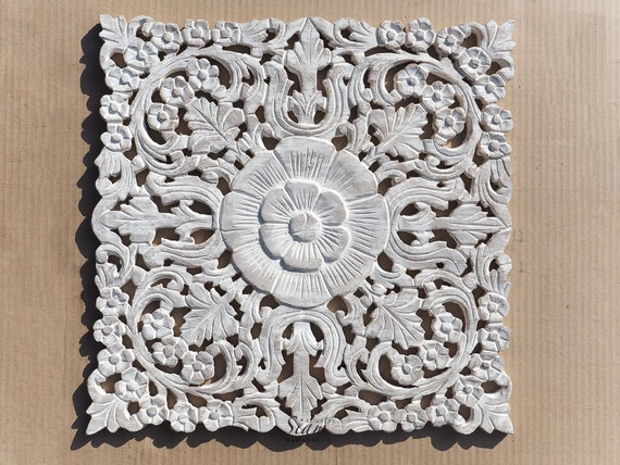 Carved Wood Wall Decor White : White wash carved wood wall art sculpture teak by siamsawadee