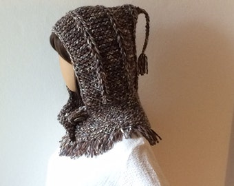 Hooded Scarf, Knit Hood, Woman Hooded Scarf, Cowl Scoodie
