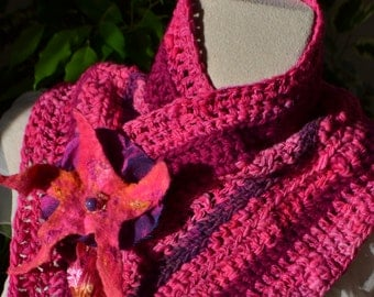"Snood, cache col ""Bollywood"" pink fuschia, entirely handmade"