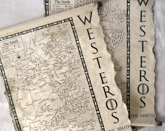2 MAPS Game of Thrones Map Westeros Map The North and The South Map GoT Map Poster on Handmade 2 Scrolls