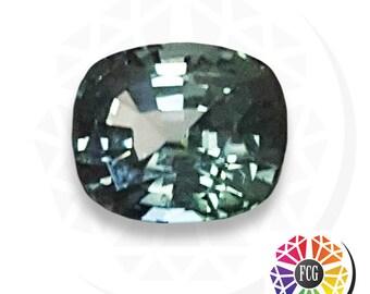 Loose Cushion Shape 2 carat Untreated Gray Teal Sapphire - Genuine Blue Green Cushion Sapphire  Tanzania  - Faceted Teal Unheated Sapphire