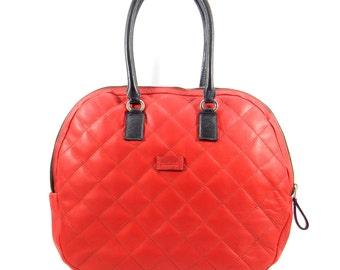 Quilted Leather Bag - Shoulderbag Handmade in Bolivia - Satchel Bag