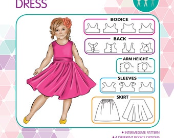 PATTERN Tea Party Dress - PDF Sewing Pattern - Instant Download - Tadah Patterns