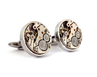Watch Cufflinks - Large - Featuring Swiss Made ROTARY movements. Stainless Steel Backs. Steampunk Accessories.