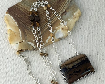 Brown Picture Jasper Pendant Necklace on Strand of Oval Link Silver Chain with Picture Jasper, Tiger Eye, Bronzite Coin and Silver Beads