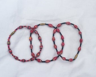 Red Paper Bead Bracelet